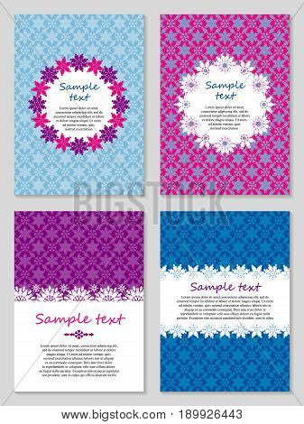 Set of decorative card templates with place for your text. Vector card design with symbols of male and female gender. Can be used for Valentine's day greeting cards wedding invitations