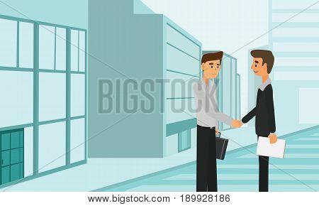 Business People Handshake Partnership Deal Teamwork Cooperation. Businessman handshaking acquisition concept illustration vector.