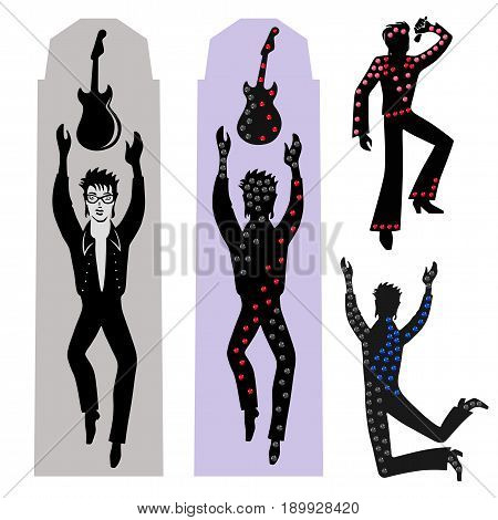 Full length front view rocker dancer catches guitar on big building's wall. Vector illustration isolated on white background