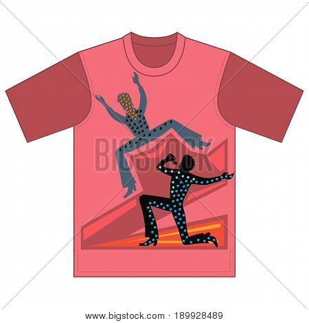 Full length front view of singer dancer men performances tshirt design. Vector illustration isolated on white background
