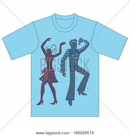 Full length front view of singer dancer performances tshirt design. Vector illustration isolated on white background