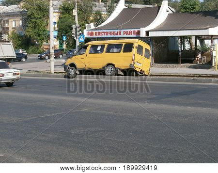 Incident with a fixed-route taxi on the road. Chelyabinsk, Russia, 2017.