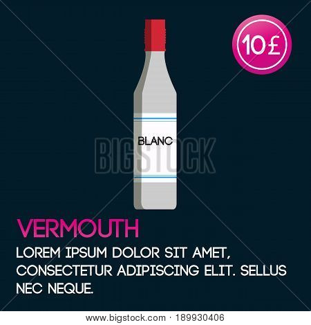 Vermouth card template with price and flat background