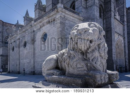 Old Statue Of A Lion In Medieval European Town Of Avila