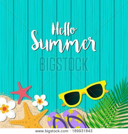 Hello Summer Holiday Background. Season Vacation, Weekend. Vector Illustration.