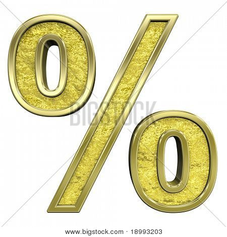 Percent sign from gold cast alphabet set, isolated on white. Computer generated 3D photo rendering.