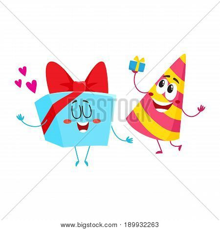 Smiling birthday party characters - striped hat and present, gift box, cartoon vector illustration isolated on white background. Funny birthday gift, present and party hat characters, mascots