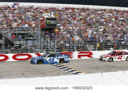 June 04, 2017 - Dover, DE, USA: Jimmie Johnson (48) leads Kyle Larson (42) on the final lap for the AAA 400 Drive for Autism at Dover International Speedway in Dover, DE.