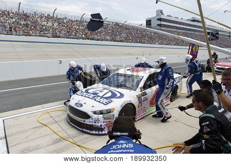 June 04, 2017 - Dover, DE, USA: Trevor Bayne (6) comes down pit road for service during the AAA 400 Drive for Autism at Dover International Speedway in Dover, DE.