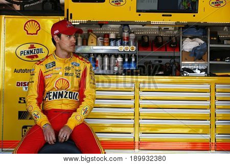 June 02, 2017 - Dover, DE, USA: Joey Logano (22) hangs out in the garage prior to practice for the AAA 400 Drive for Autism at Dover International Speedway in Dover, DE.