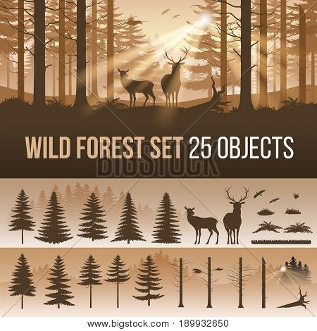 Evergreen Forest Set of Different Silhouettes of Trees and Wild Animals