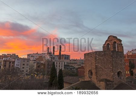 Sunrise In The Raval Quarter In Barcelona: Sant Pau Del Camp Church, Spain