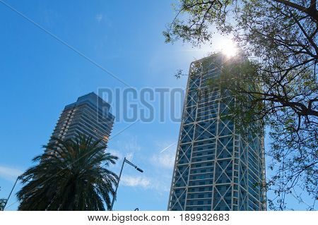 Two Skyscrapers In Barcelona,  Catalonia, Spain
