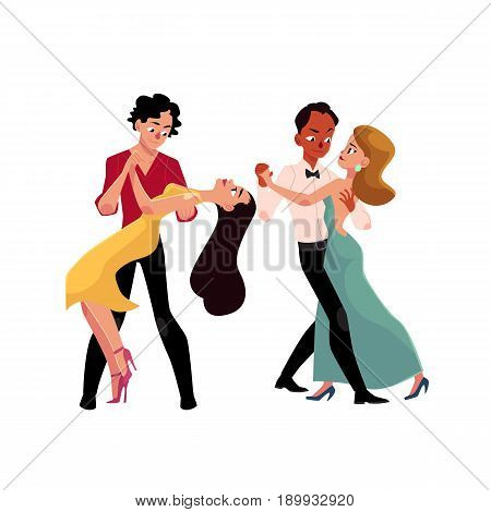 Two couples of professional ballroom dancers dancing, looking at each other, cartoon vector illustration isolated on white background. Two ballroom dance couples dancing tango, waltz, rumba