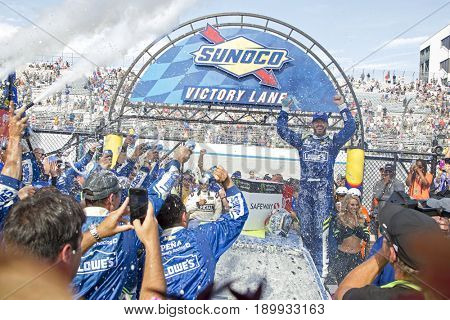 June 04, 2017 - Dover, DE, USA: Jimmie Johnson (48) wins the AAA 400 at Dover International Speedway in Dover, DE.