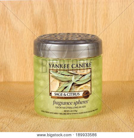RIVER FALLS,WISCONSIN-JUNE 06,2017: A jar of Yankee Candle brand sage and citrus fragrance spheres.