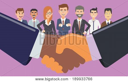 Business Handshake in front of Business People. Partnership Deal Conceptual illustration Vector.
