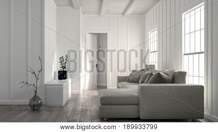 Minimalist bright white living room interior with wood panelled wall and a large comfortable settee in front of double windows in a 3d rendering