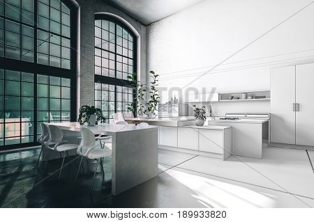 Split toned image of a modern kitchen interior in a loft conversion giving the impression of evening and daylight around the central corner. 3d rendering