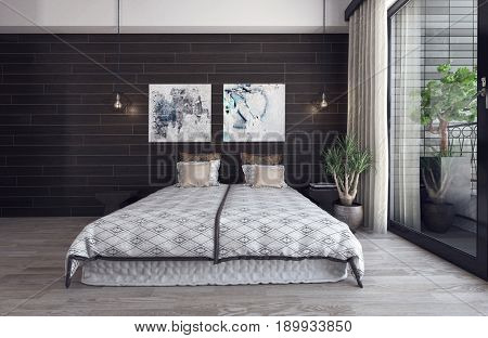 Scandinavian hipster style bedroom interior with wooden wall. 3d Rendering