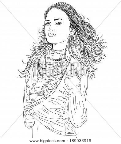 Woman with long hair and shawl, fashion,
