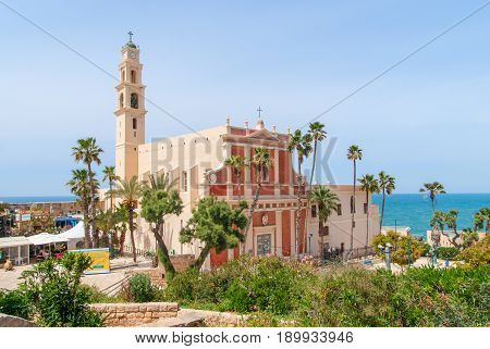 St. Peter's Church. The bell tower with clock of the Church. Jaffa Israel