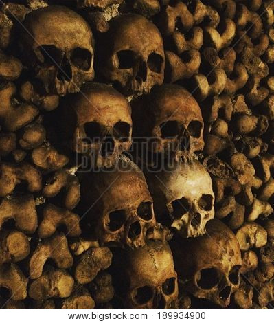 Powder piled up of our ancestors under the streets of Paris-Catacombs