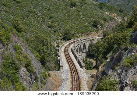 Railway viaduct at Froncardo-Soveria railroad haul. Upper Corsica, France
