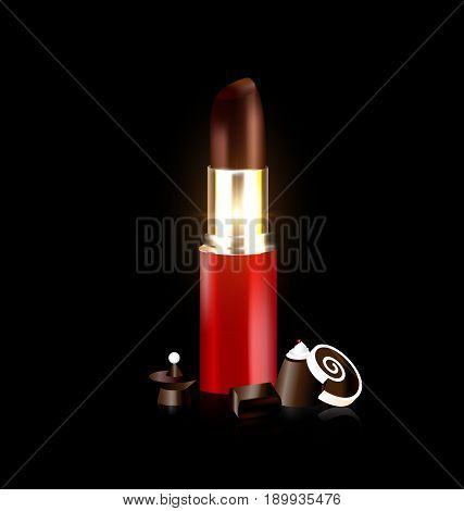 dark background, brown lipstick with chocolate candy and sweet