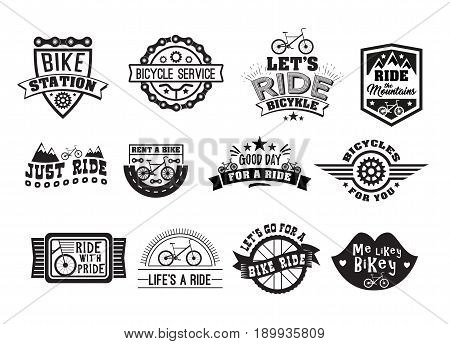 Bike badge vintage set. Sports logo sticker for print on t-shirt, retro monochrome design, shop for bicycle gear, parts and accessories. Vector flat style illustration isolated on white background