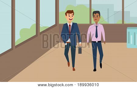 Business people walking down in office corridor and talking. Businessmen Discussion Conceptual illustration vector.