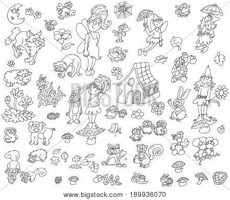 Elves and magical animals living in the woods Colorful drawing illustrations, funny mascots