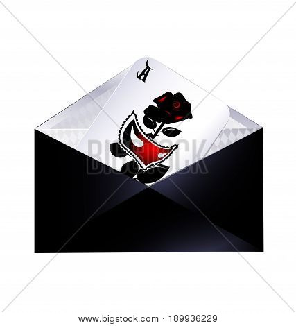 white background, the dark envelope with abstract games card of black red half-mask and rose inside