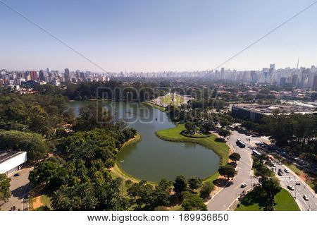 Aerial View of Ibirapuera in Sao Paulo, Brazil