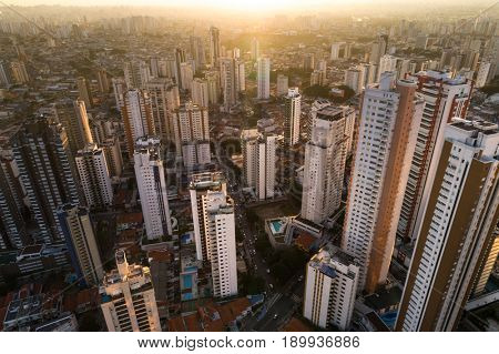 City Skyline Skyscrapers - Aerial View