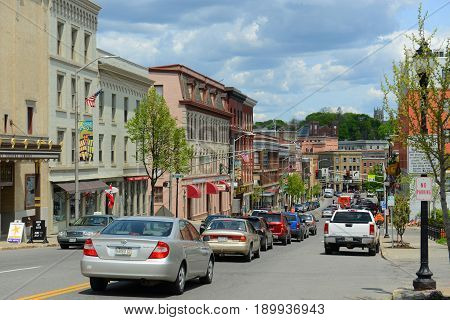 BANGOR, ME, USA - MAY 20, 2016: Historic Blocks at Main Street in downtown Bangor, Maine, USA.