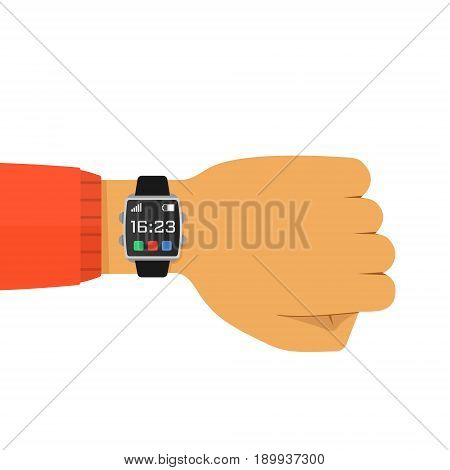 Vector illustration of smart watch on the hand isolated on white. Concept wearable technology. Flat style design. Man with electronic wristwatch checks the time.