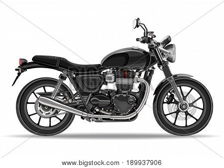 Motorcycle vector, realistic illustration. Black motorbike half-face with many details