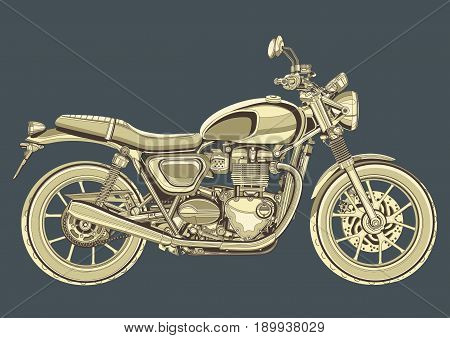 Motorcycle vector, vintage drawing. Yellow motorbike half-face with many details