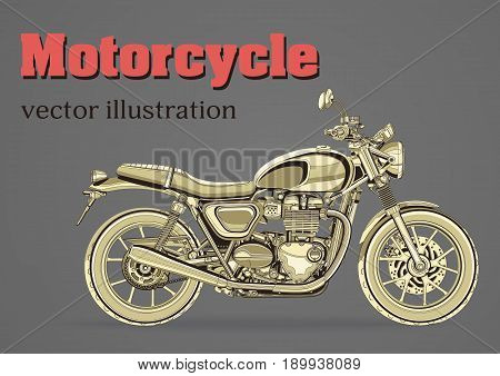 Motorcycle vector, vintage banner, poster, flyer, card, cover. Yellow motorbike half-face with many details on a gray background and place for your text