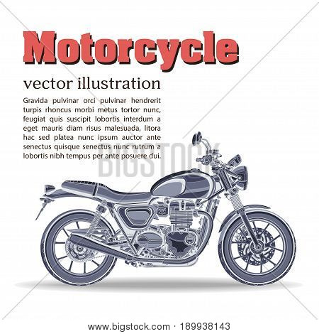 Motorcycle vector, vintage banner, poster, flyer, card, cover. Blue motorbike half-face with many details on a white background and place for your text