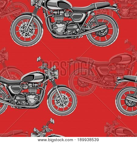 Motorcycle seamless pattern, vector background. Monochrome illustration. Black and white motorcycles with many details on a red background. For wallpaper design, fabric, wrappers, decorating