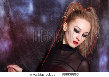 Young Woman With Bright Gothic Makeup