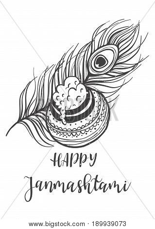 Ornament card with Lord Shri Krishna birthday. Illustration in vector art. Happy Janmashtami Day