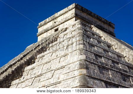 Closeup view of the pyramid known as El Castillo in Chichen Itza Mexico