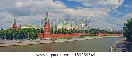 Panoramic view on Moscow Kremlin Red Square, Kremlin towers, red stars, convention centre, red brick Kremlin walls, church Ivan bell tower. Red square Panorama. Moscow holidays vacation tours