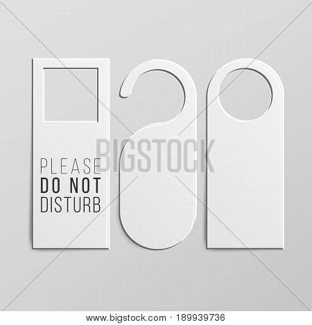 Door Handle Lock Hangers Set. Realistic Mock Up. Do Not Disturb. Vecto