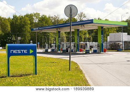 Saint Petersburg Russia - 06 June 2017 The company gas station Neste