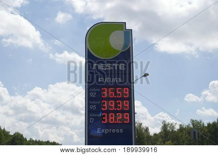 Saint Petersburg Russia - 06 June 2017. The price of gasoline and diesel fuel at the gas station Neste in rubles.