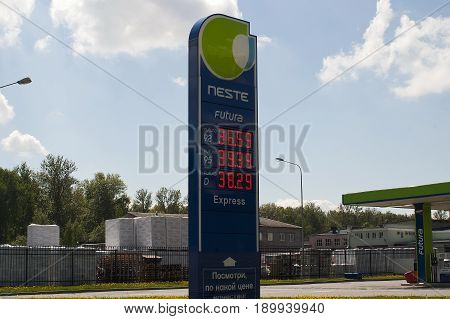 Saint Petersburg, Russia - 06, June, 2017. Bulletin Board with the prices of gasoline and diesel fuel at the gas station Neste.